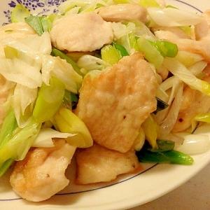 鶏むね肉とねぎの塩にんにく炒め