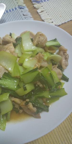 チンゲン菜と鶏肉のあっさり炒め