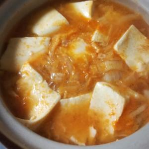 キムチ鍋の素で!!チゲ豆腐スープ