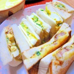残り物の卵と魚と野菜で、レストラン風サンドウィッチ