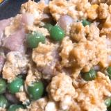 豚肉とグリーンピースの卵とじ