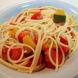 胡麻ドレッシングで トマトと南瓜の冷製パスタ