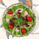 アスパラとロースハムのサラダ