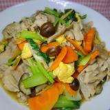 チンゲン菜と豚肉の卵炒め