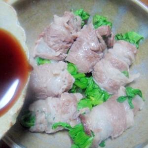 菊菜の肉巻き蒸し