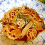 サバと根菜のピリ辛煮付け