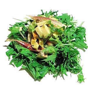 みょうが、水菜、アボカドのサラダ