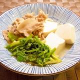 せりと豆腐と豚肉のさっと煮