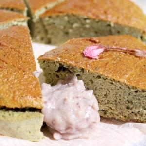 糖質制限★よもぎの薬膳パンケーキ(リンゴ酢活用)