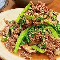 牛肉と小松菜のガーリックオイスター炒め