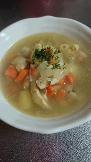 冷蔵庫一掃!塩たらとあり合わせ野菜のスープ♪