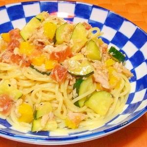 夏野菜とツナのカラフル冷製パスタ