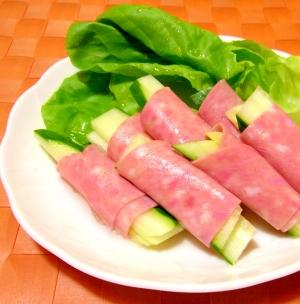 きゅうりのボローニャソーセージ巻きサラダ
