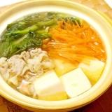 ひとり鍋✿ターサイと豚肉の中華風