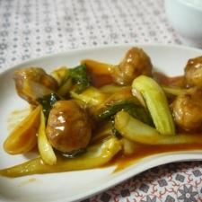 チンゲン菜の酢豚風