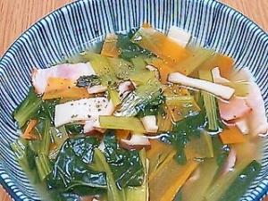 小松菜とベーコンとエリンギの煮込み