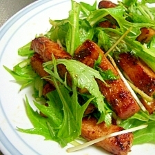 ハムと水菜のカレー風味炒め