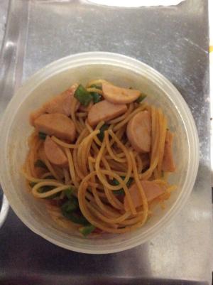 魚肉とピーマンパスタ