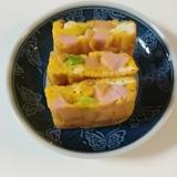お弁当に 枝豆とおさかなソーセージの卵焼き