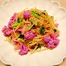 紫カリフラワー☆モヤシと小松菜のお浸し