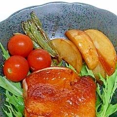 ポリ袋で簡単 ピリ辛てりやきチキン(ポーク)&野菜