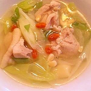 水から煮込んで調味料は塩だけ☆参鶏湯風スープ