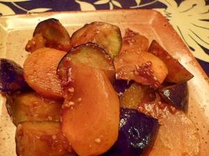秋の味覚☆柿と茄子の味噌炒め