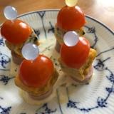 卵焼きと魚肉ソーセージ、ミニトマトのピンチョス
