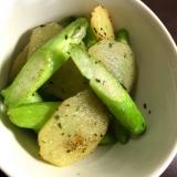アスパラとジャガイモのバジル炒め