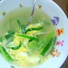 簡単、ニラと玉子の中華風スープ