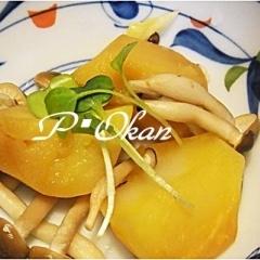 ピリ辛♪ジャガイモとシメジの辛子醤油煮