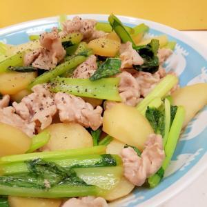 豚肉と小松菜とじゃがいものオイスターソース炒め
