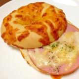 朝食に☆ハムチーズベーグルトースト