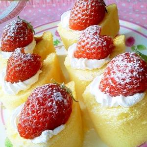 市販のロールケーキで簡単♪苺のプチケーキ☆