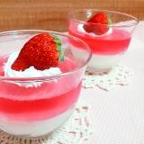 春色デザート♪苺ゼリー&豆乳プリン