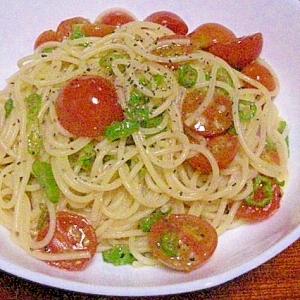 ししとうとプチトマトのペペロンチーノ風♪パスタ