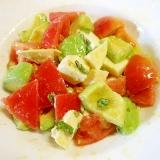 アボガド・モッツァレラチーズ・トマト・バジルサラダ