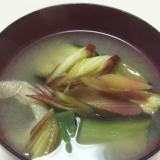 茄子と揚げ長葱ミョウガの麦味噌汁★
