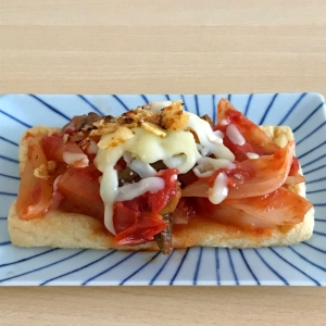 ラタトゥイユの油揚げピザ