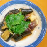 レンジで!蒸し茄子・大根菜のぽん酢がけ