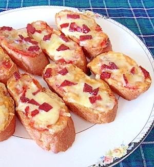 フランスパンで簡単★サラミピザ