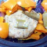 ハンバーグおくらオレンジパプリカ紫ペコロス蒸し