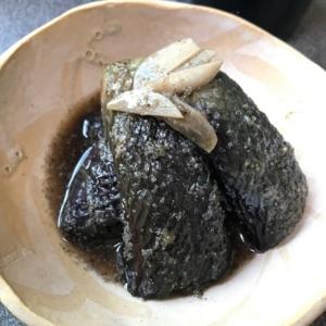 ノンオイルで茄子の煮浸し、ニンニク胡麻風味