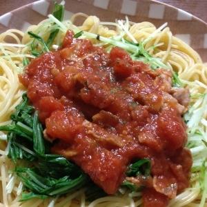 水菜と豚バラのトマトパスタ