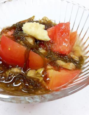 簡単ヘルシー(^^)トマトと納豆のもずく酢和え♪