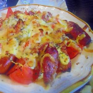 ウィンナーとトマトのチーズ焼き