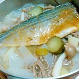 サバ味噌煮&野菜たっぷり蕎麦