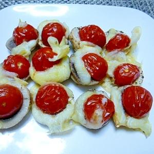 可愛いね、トマトとマッシュルームの簡単つまみ