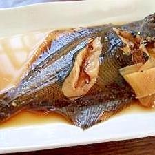 釣った魚でカレイの煮つけ