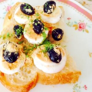 マシュマロじゅわっと♪黒豆ときな粉と青汁トースト